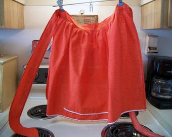 Vintage red half apron, Red apron, red talk kitchen apron