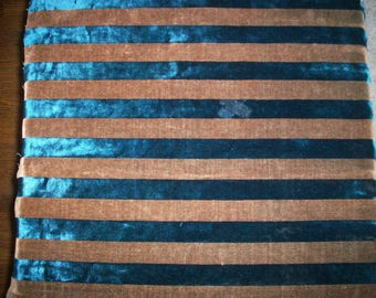 Antique Victorian Silk Velvet Fabric Yardage Made in France early stripe