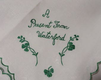 "Irish Linen Tablecloth Vintage ""A Present From Waterford"" White Linen with Green Embroidery & Trim  //  35"" by 32 1/2""  //  Never Used NOS"