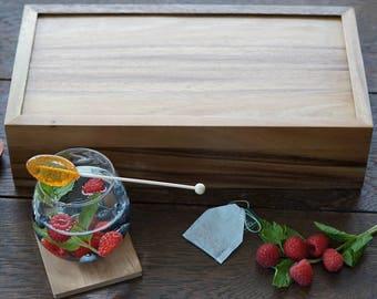 Engraved Tea Box, Wood 10 compartments tea storage box