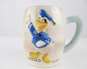 Vintage 'Donald Duck' Cup - Ceramic Cup Copyrighted Walt Disney Productions - 3-D Donald - Blue Handle  - Collectible