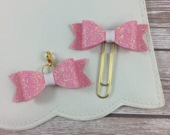 Light Pink Felt Backed Glitter Bow Paperclip or Charm // Paperclip // Planner Accessories