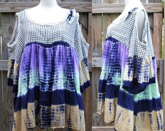OOAK Reconstructed Cold Shoulder Tie Dye Top Boho Shabby Chic Eco Country Girl Off Shoulder Tunic Recycle Bell Sleeve L/XL Mandy