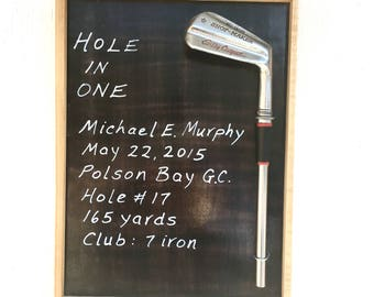 Customized Golf Hole in One Plaque made from Vintage Reclaimed Wood and Golf Club