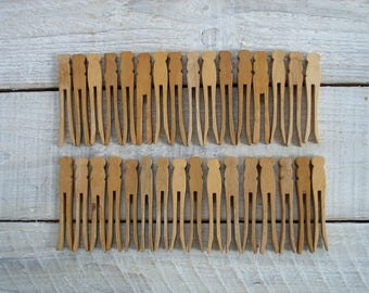 30 Vintage Wooden Clothespins ~ Flat Wood Clothes Pin Variety ~ Rustic Antique Farmhouse Laundry Room Decor (S3)