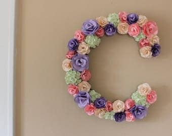 Paper Flower Letter - Made to order - Choose Letter and Colors - 18 inches high - Wedding Decor