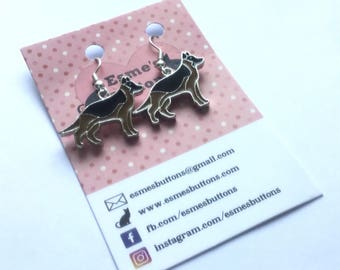 German Shepherd earrings,German Shepherd gift, Alsatian earrings, Alsatian gift, dog lover gift, gift for her, fun earrings,