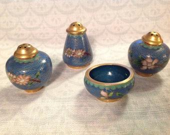 Set of 4 vintage cloisonne shakers