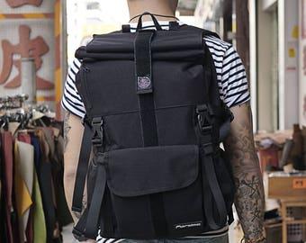 Gift for him, travel backpack, rucksack, roll top backpack, messenger backpack, commuter bag, bicycle backpack, laptop backpack, school bag