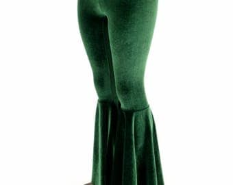 Forest Green Velvet Bell Bottom Flares Leggings with High Waist & Stretchy Spandex Fit - 154749