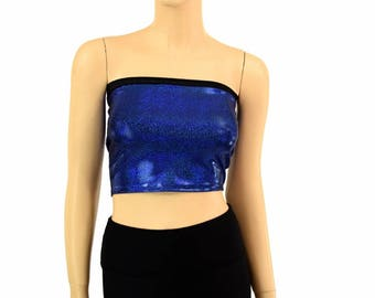 Blue Sparkly Jewel Holographic Lycra Spandex Strapless Tube Top Clubwear - 154966