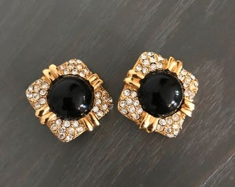 Joan Rivers Clip On Earrings Gold and Black Signed