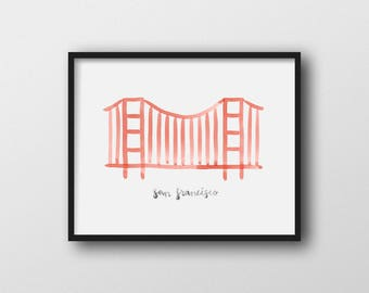 Minimalist San Francisco Golden Gate Bridge Wall Art Print Home Decor 11x14 8x10