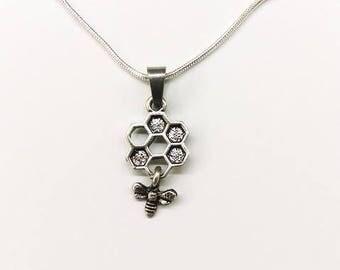 Bee & Honeycomb Necklace
