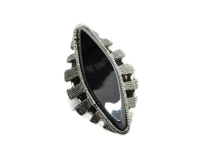 Whiting & Davis Hematite Ring, Vintage Black Glass Ring, Black Designer Ring, Silvertone Ring, Signed Whiting and Davis Jewelry, Size 6