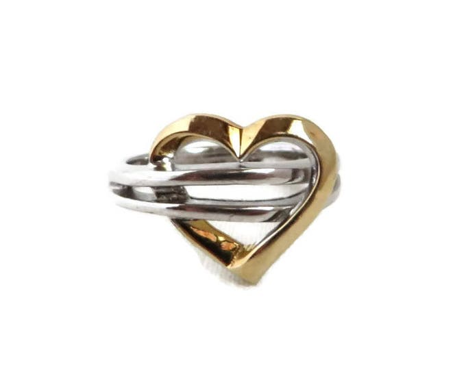Sterling Silver Heart Ring, Vintage Two Tone Silver Ring Size 6.75-7