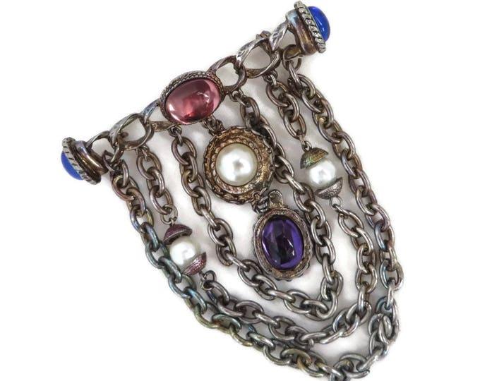 Art Deco Bar Brooch, Vintage Dangling Chain Glass Bead Brooch, Faux Pearl Silver Tone Brooch