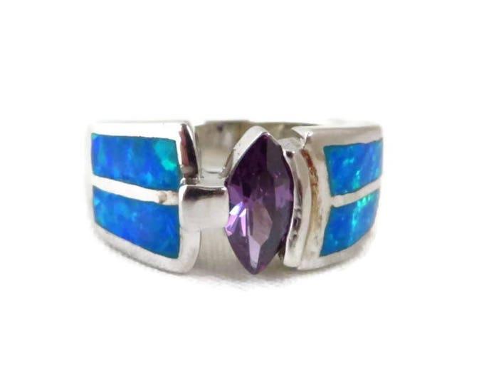 Sterling Silver - Amethyst & Opal Silver Ring, Vintage Sterling Silver Wide Band Statement Ring, Size 6