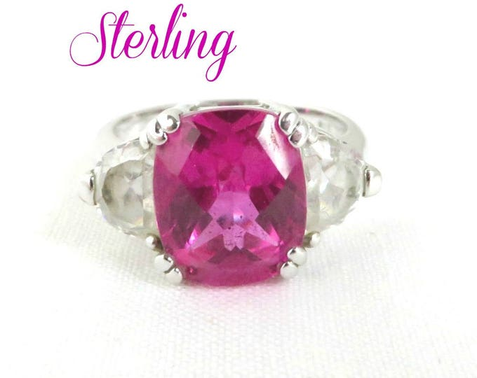 Sterling Silver - Pink Topaz Glass Ring, Vintage Sterling Silver Ring, Cocktail Ring, October Birthstone, Size 9, FREE SHIPPING