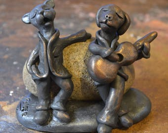 Dog and Cat Sculpture, Dog and Cat Figurine, Dog and Cat Singing, Gifts For Music Lovers, Pet Gifts, Pet Art, Pet Sculpture, Pet Sculpture