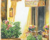 Original, one-off drawing of a trattoria in Florence, in charcoal and pastel on calico
