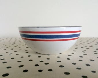Vintage Club Celebration Norway Bowl, Red and Blue Striped Enamel Bowl, Club Enamel Bowl, Celebration Bowl, Red White and Blue Bowl