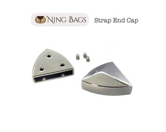 Set of 6 // Strap End Cap in Diamond Shape, Strap Hardware for Bags, Purses, Totes in Nickel Finish