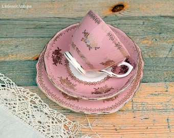 RESERVED to Joven. Set of Vintage Colclough Bone China Made in England A Product of Ridgway Potteries Ltd Pink White and Gold Trio