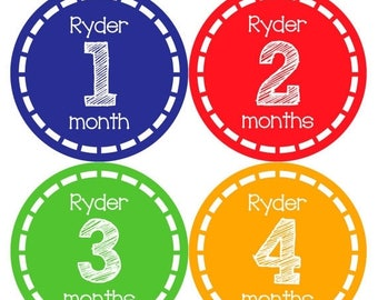 PERSONALIZED Baby Boy Month Stickers Monthly 12 Month Sticker Monthly Baby Stickers Baby Shower Gift Photo Prop Milestone Sticker 481
