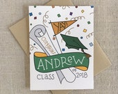 Custom Graduation Congrats Card / Class of 2018 / Custom Name and School Colors / High School College Grad / Hand Lettered Congratulations