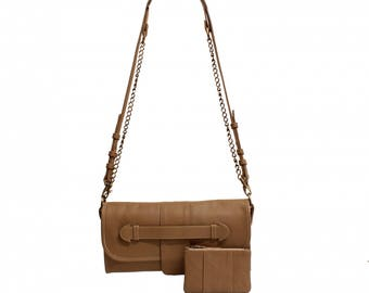 "Bag leather clutch bag ""Coverhand"" in soft Taupe"