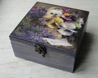 Wooden tea box Tea bag holder Tea storage box Tea bag storage Tea chest Tea organizer Wood tea box Tea caddy Tea gift box Tea lover gift