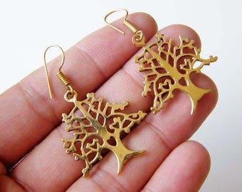Tree of Life Earring, Brass Earring, Dangle Earring, Gypsy Earrings, Tribal Earrings, Indian Earrings, Ethnic Boho Chic Jewelry SH-5967