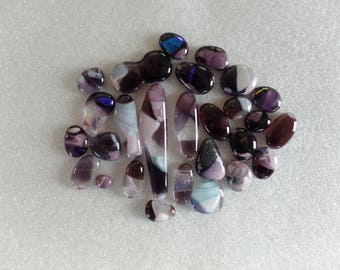 Assorted  Funky Irregularly Shaped Purple Fused Glass Cabochons