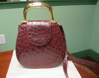 Vintage RODO Alligator Embossed Leather Handbag with Strap Made in Italy