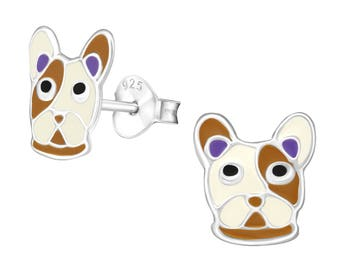 Childrens Enamel English Bulldog Dog Stud Earrings 925 Sterling Silver - ES1394WH/BR