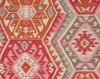 SHIPS SAME DAY P Kaufmann Longrock Canyon Rose Home Decor Fabric, Pink Orange Faux Kilim Fabric, Orange Cream Drapery Fabric - By the Yard