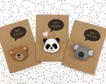 Bear, Koala, Panda Birthday Card - Felt Badge Brooch - Happy Bearthday Pun Card - Love You Beary Much - Brave Bear Get Well Soon - Good Luck