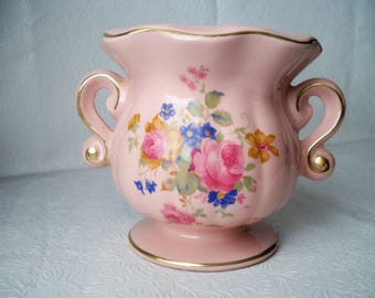 1950s Vintage Large Pottery Pink Vase with Summer Flower Design on both Sides with Gold Trim