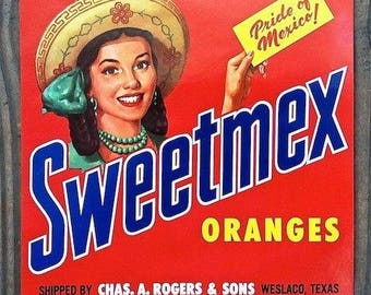 Beautiful Sweetmex Orange Crate Label