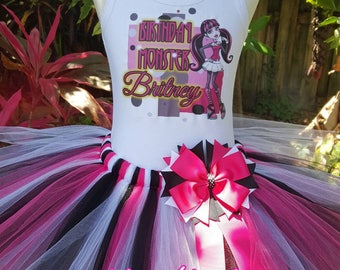 Birthda tutu set, Hot pink, white and black Tutu Set, Birthday tutu, Girls tutu outfit