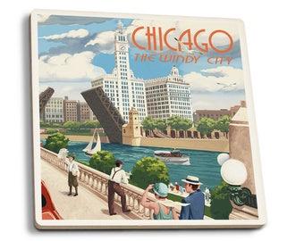 Chicago, IL - River View - LP Artwork (Set of 4 Ceramic Coasters)