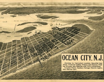 Ocean City, New Jersey - (1903) - Panoramic Map (Art Print - Multiple Sizes Available)
