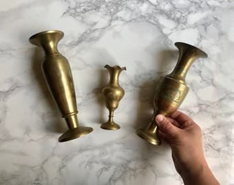 Set of Three Solid Brass Vases / Brass Vases / Set of Brass Vases / Brass Vase Collection
