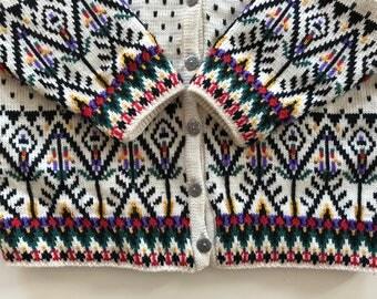 Scandinavian Christmas Sweater - Dale of Norway - Nordic Cream w Complex Design - Wool Snowflake Nordic Pattern - L