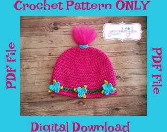 Pink Troll Hat Pattern ** PDF File ONLY*** Instant Download