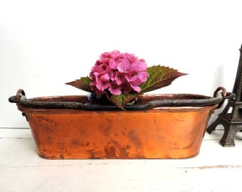 Vintage Jardiniere/French Vintage Copper Jardiniere/Vintage Copper Planter/Vintage Planter/French Vintage Planter/Copper Pan