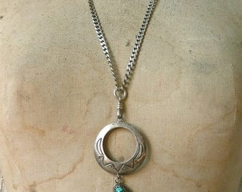 SUMMER SALE Turquoise Hoop Necklace