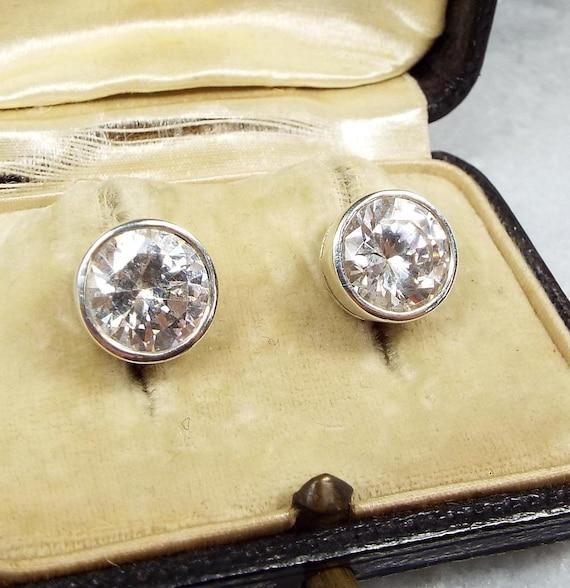 Vintage / Sterling Silver Art Deco Amazing Bezel Rock Crystal Stud Earrings 925