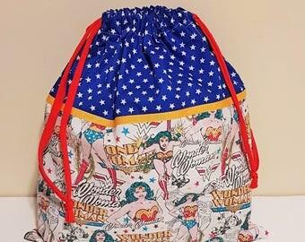WONDER WOMAN Drawstring bag/ large reusable cotton Women's gift bag